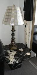 Black marble coffee table with two side tables