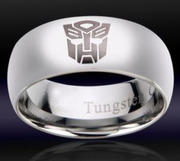 Comfort Fit 8MM Mens Tungsten Transformers Autobot Ring - Free Ship