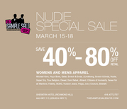 NUDIE SPECIAL SALE,  WOMEN'S AND MEN'S APPAREL