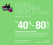 SPRING DESIGNER SAMPLE SALE,  UP TO 80% OFF