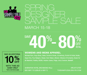 SPRING DESIGNER SAMPLE SALE,