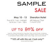 Sample Sale Up To 80% Off