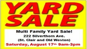 Multi Family Yard Sale (St Clair/Old Weston) Sat Aug 17 9am-3pm