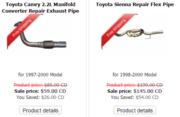 Toyota Camry Exhaust Pipes for 1997-2000 Models