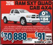2016 RAM SXT QUAD CAB 4X4 Toronto