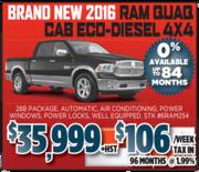 2016 Ram Quad Cab Eco – Diesel 4X4 in Toronto