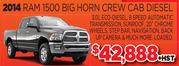 2014 Ram 1500 Big Horn Crew Cab Diesel Toronto