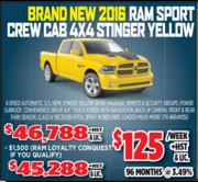 2016 Ram Sport Crew Cab 4X4 Stinger Yellow Toronto
