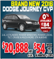 New 2016 Dodge Journey CVP Toronto