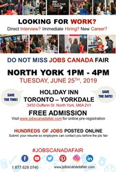 NORTH YORK JOB FAIR - JUNE 25TH,  2019