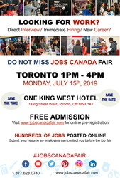 TORONTO JOB FAIR - JULY 15TH,  2019