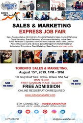 Toronto Sales & Marketing Job Fair - August 15th,  2019
