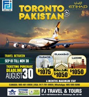 Toronto to Pakistan - Starting 1050$ CAD - FJTravels