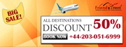 Get 50% Discount On Flights to All Destinations +44 203 051 6999.